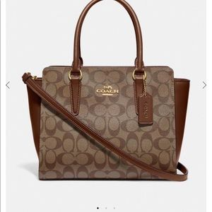 Coach Leah Satchel in Signature Canvas NWT